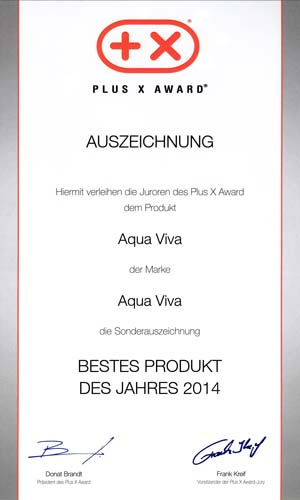 Plus X Award best product aqua viva