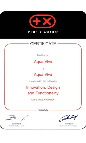 Plus X Award innovation design technology aqua viva